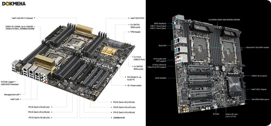 ASUS Motherboard Dual CPU For W10000 PC Workstations