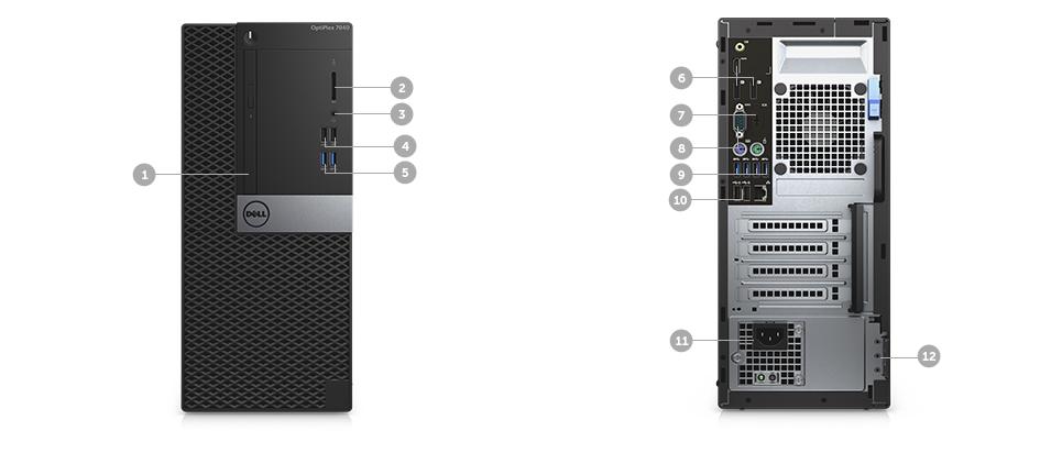 اسلات و پورت های کیس دسکتاپ دل مدل Dell Optiplex 7040 MT