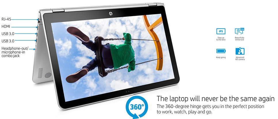 لپ تاپ اچ پی 15.6 اینچی لمسی HP Pavilion x360 15-bk010nr