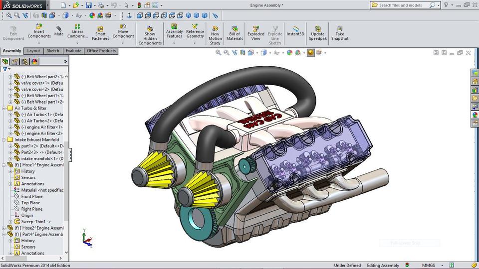 طراحی موتور ماشین با نرم افزار نرم افزار SOLIDWORKS