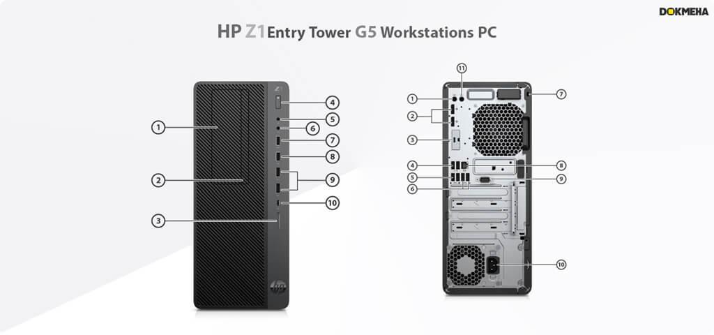 پورت ها و اتصالات کیس ورک استیشن HP z1 Entry Tower G5