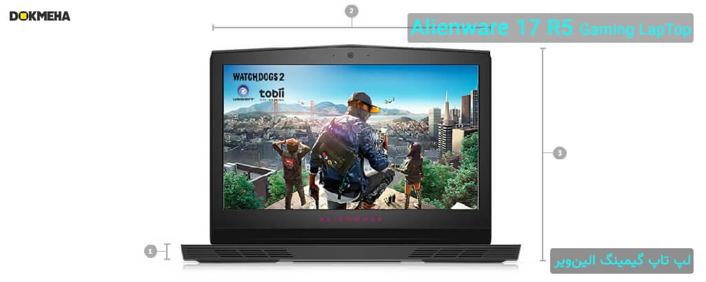 لپ تاپ گیمینگ الین ویر Alienware 17 R5 Gaming نمای روبرو و ابعاد