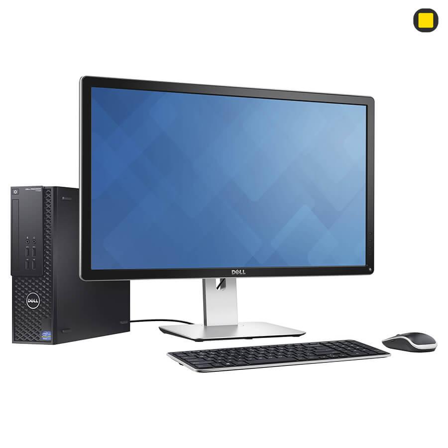 مانیتور دل 27 اینچ Dell P2715Q UHD 4K نمای جانبی چپ روبرو اتصال به کیس و موس / کیبورد وایرلس