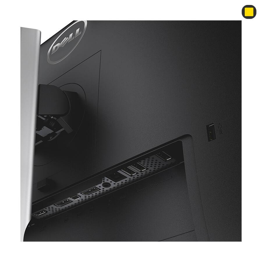 مانیتور دل 27 اینچ Dell P2715Q UHD 4K نمای جانبی زیر سمت چپ و پورتها