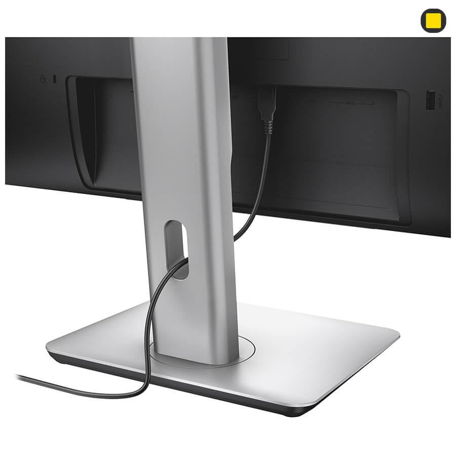 مانیتور دل 27 اینچ Dell P2715Q UHD 4K نمای پشت زیر سمت چپ و هدایت گر جمع کننده کابل پایه