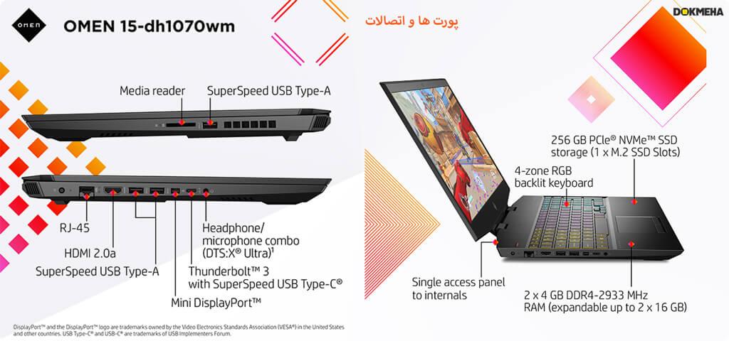 پورت ها و اتصالات HP-Omen-15-Dh1070wm