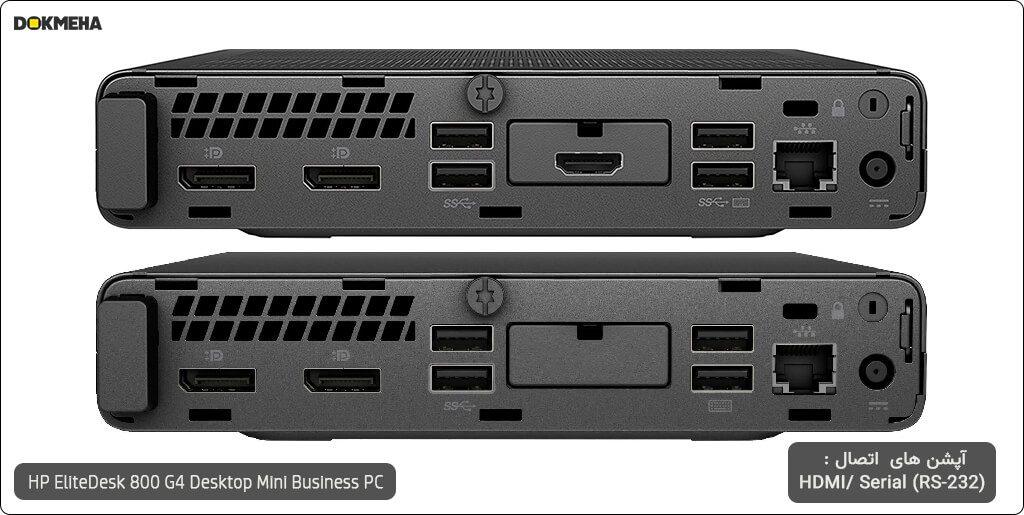 کیس اچ پی الیت دسک مینی P-EliteDesk-800-G4-Desktop-Mini-Business-PC نمای پورتهای پشتی