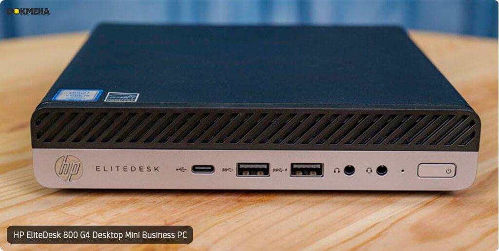 کیس اچ پی الیت دسک مینی P-EliteDesk-800-G4-Desktop-Mini-Business-PC نمای روبرو روی میز