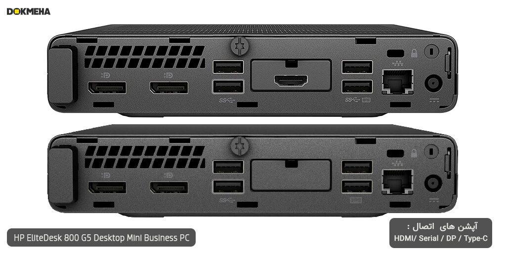 کیس اچ پی الیت دسک مینی P-EliteDesk-800-G5-Desktop-Mini-Business-PC نمای پورتهای پشتی