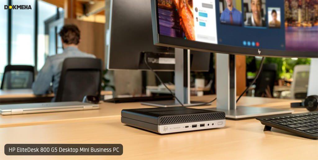 کیس اچ پی الیت دسک مینی P-EliteDesk-800-G5-Desktop-Mini-Business-PC نمای کاری روی میز
