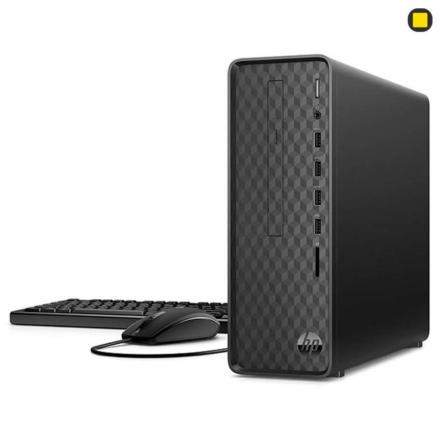 کیس اچ پی پرو دسک HP-Slim-Desktop-S01 نمای بغل راست روبرو با کیبورد و موس