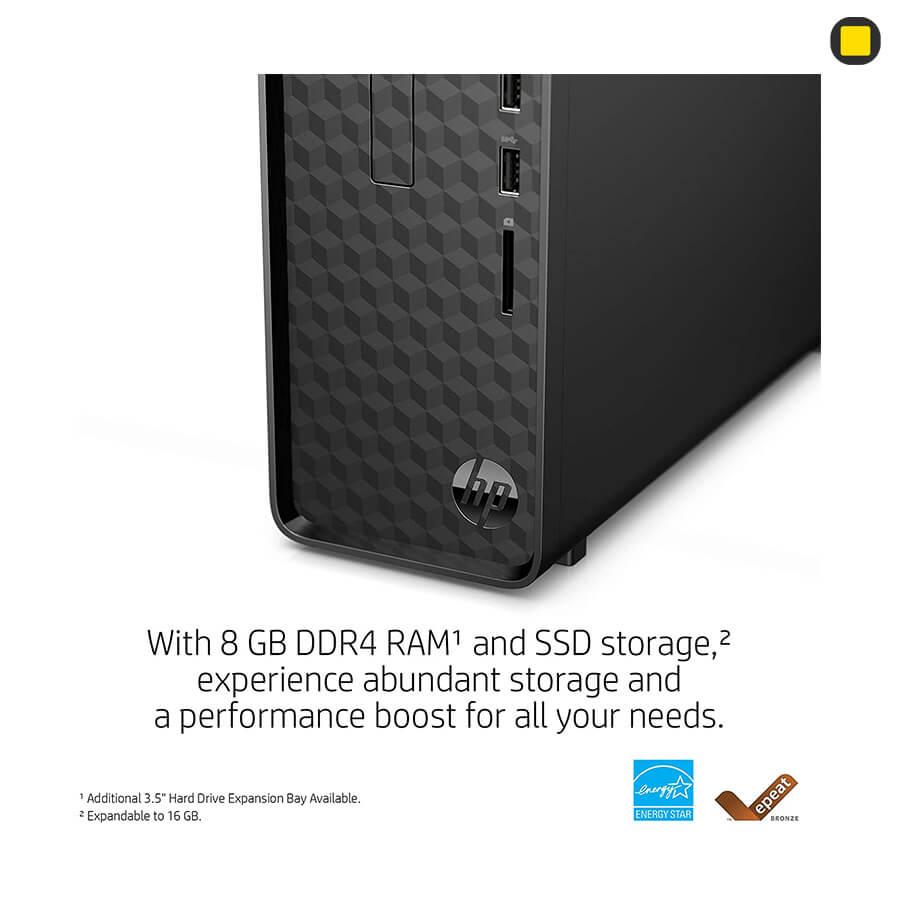 کیس اچ پی پرو دسک HP-Slim-Desktop-S01 نمای روبرو گوشه پایین