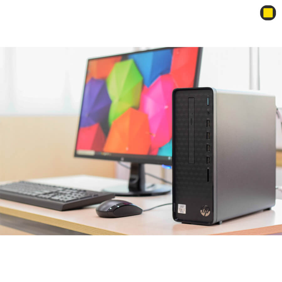کیس اچ پی پرو دسک HP-Slim-Desktop-S01 نمای بغل راست روبرو با کیبورد و موس مانیتور