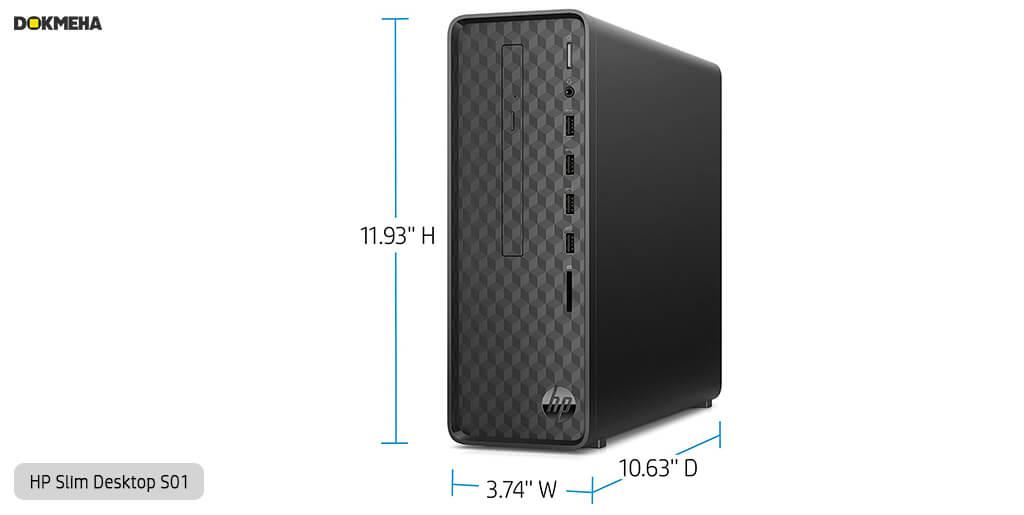 کیس اچ پی پرو دسک HP-Slim-Desktop-S01 نمای ابعاد و سایز روبرو