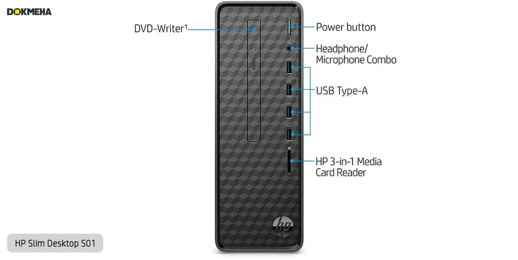 کیس اچ پی پرو دسک HP-Slim-Desktop-S01 نمای روبرو پورتها