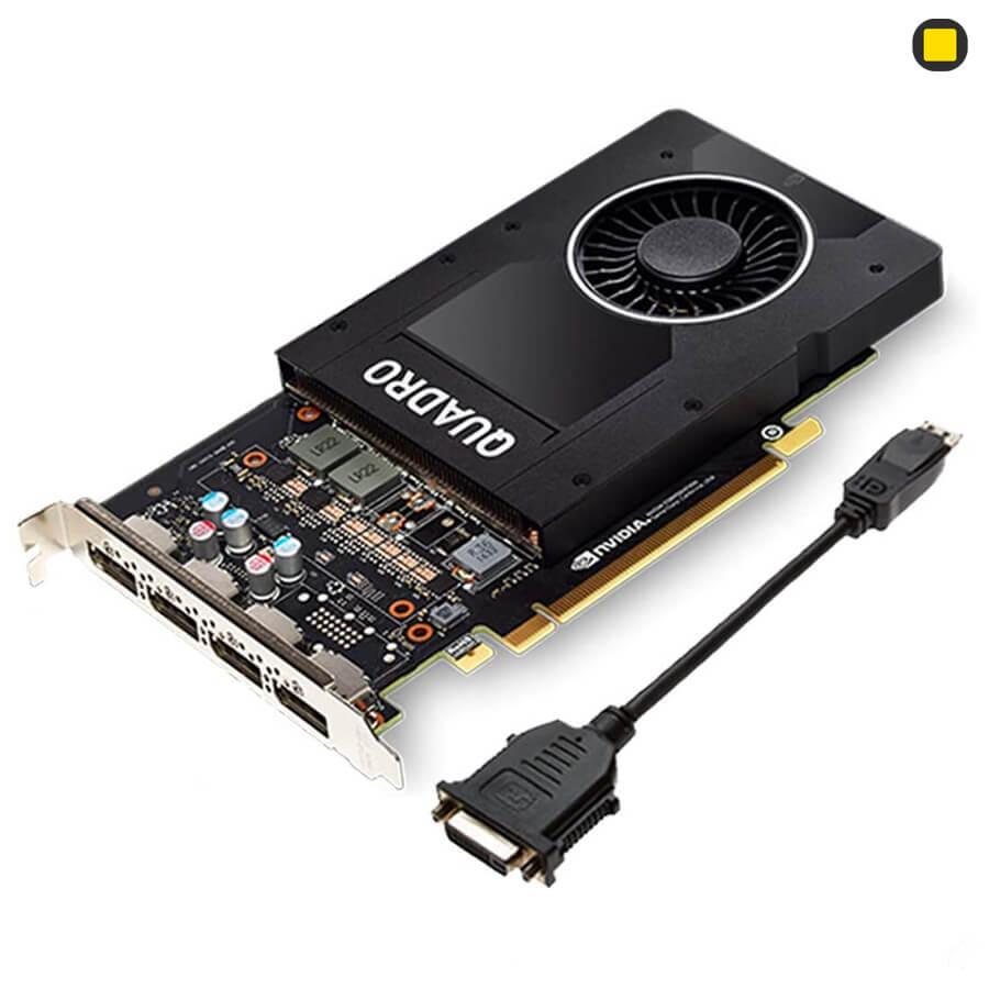 کارت گرافیک Nvidia PNY Quadro P2200 5GB GDDR5X نمای پرسپکتیو از بالا سمت راست با تبدیل DP to DVI
