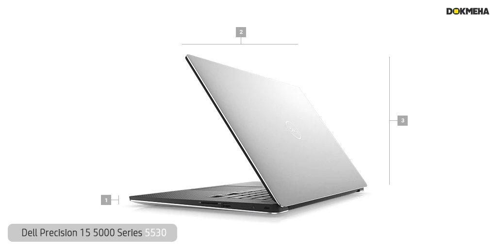 لپ تاپ ورک استیشن دل پرسیشن Dell Precision 15 5530 نمای پرسپکتیو راست ابعاد و سایز