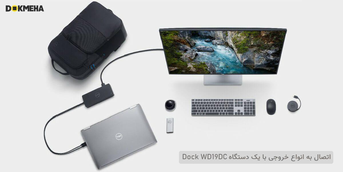 لپ تاپ ورک استیشن دل پرسیشن Dell Precision 17 7740 نمای اتصالات داک و مانیتور
