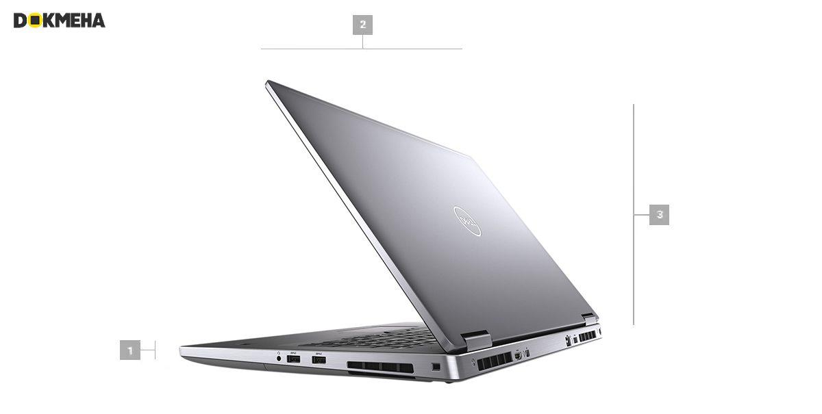 لپ تاپ ورک استیشن دل پرسیشن Dell Precision 17 7740 نمای پرسپکتیو پشتی راست ابعاد و سایز
