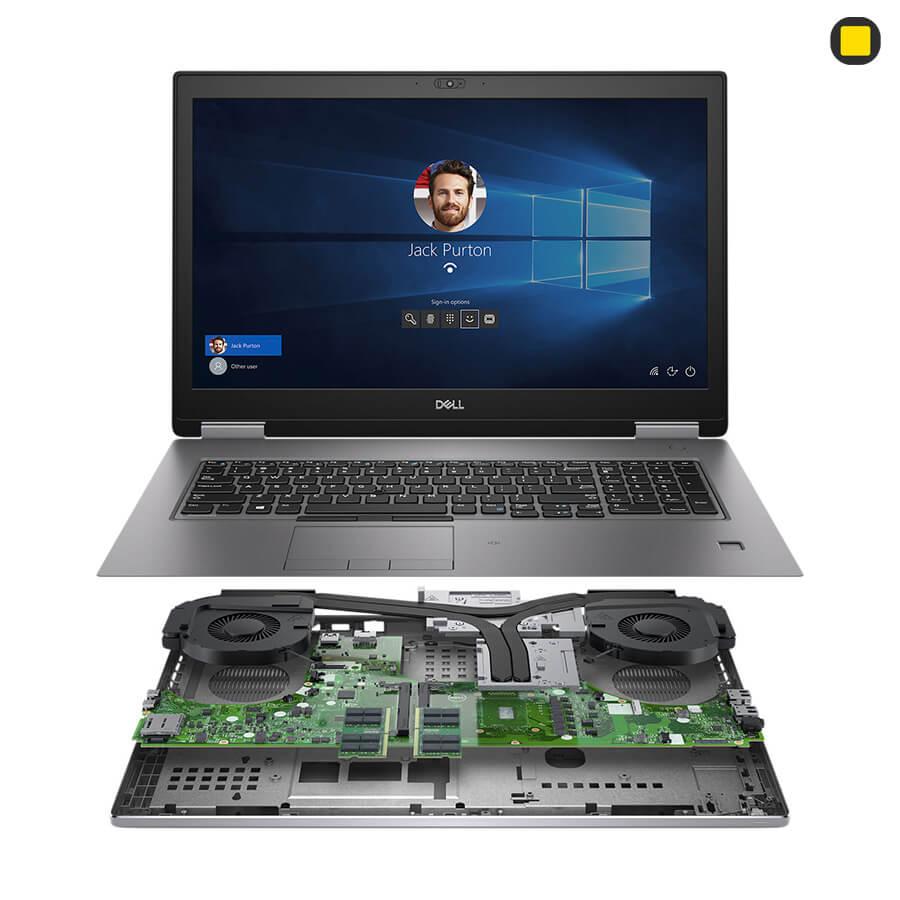 لپ تاپ ورک استیشن دل پرسیشن Dell Precision 17 7740 نمای روبرو و قطعات داخلی و خنک کننده