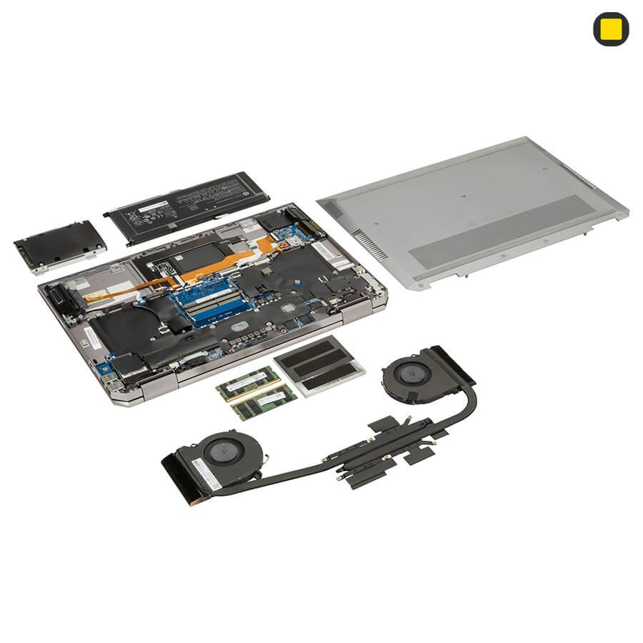 لپ تاپ ورک استیشن اچ پی زدبوک HP ZBook Studio x360 G5 Convertible خنک کننده و اجزای داخلی